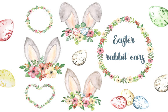 Watercolor Easter Bunny Ears Clipart. Graphic Add-ons By EvArtPrint