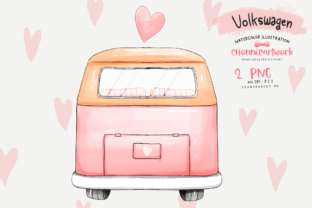 Print on Demand: Watercolor Pink Volkswagen Van Clipart Gráfico Crafts Por Chonnieartwork