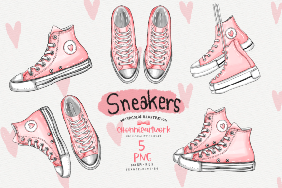 Watercolor Sneakers  Clipart Bundle Graphic