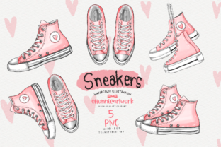 Print on Demand: Watercolor Sneakers  Clipart Bundle Graphic Crafts By Chonnieartwork