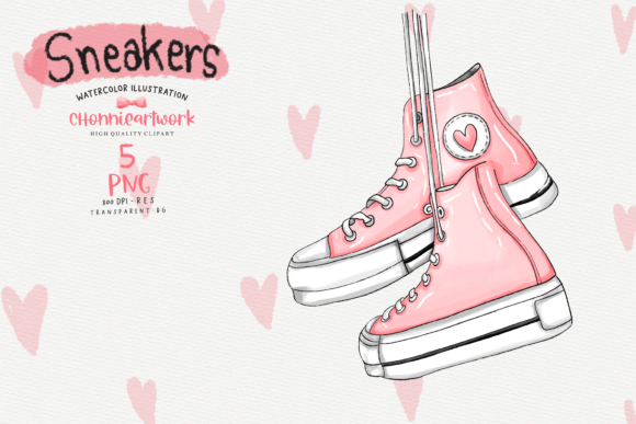 Watercolor Sneakers  Clipart Bundle Graphic Download