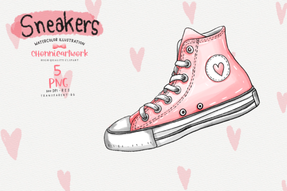 Watercolor Sneakers  Clipart Bundle Graphic Item