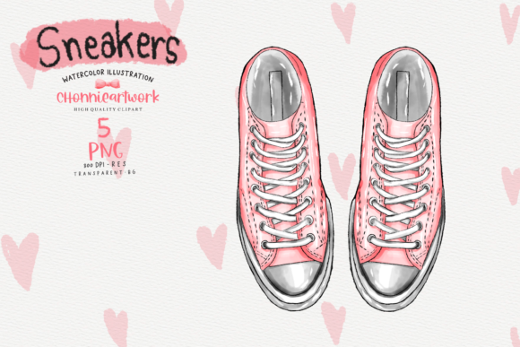 Watercolor Sneakers  Clipart Bundle Graphic Design
