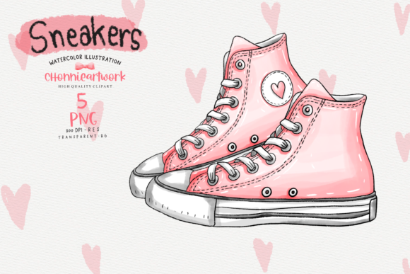 Watercolor Sneakers  Clipart Bundle Graphic Preview