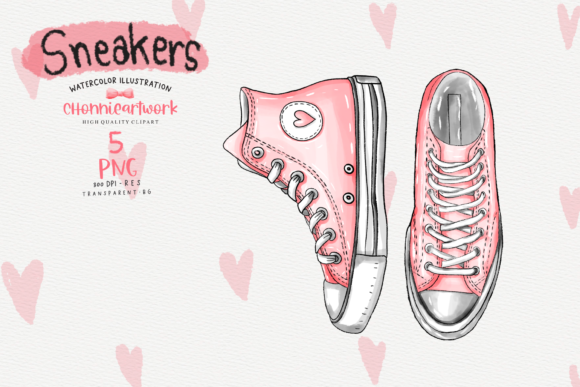 Watercolor Sneakers  Clipart Bundle Graphic Image