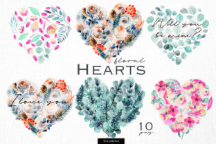 Watercolor Floral Hearts Graphic Illustrations By HappyWatercolorShop