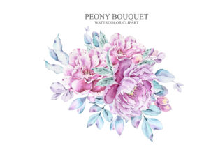 Print on Demand: Watercolor Peony Bouquet Clipart Graphic Illustrations By Tiana Geo
