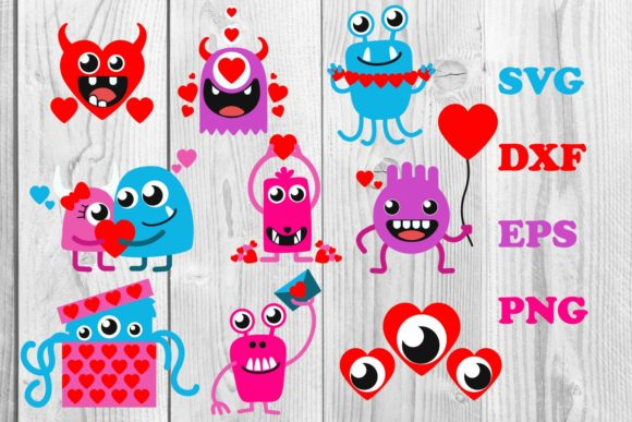 Print on Demand: Monster Heart, Valentines Monster Svg Graphic Print Templates By dadan_pm