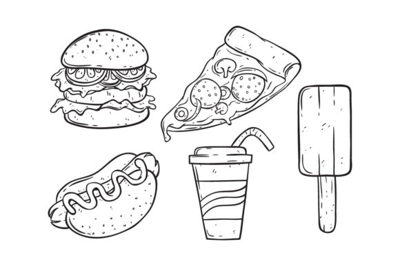 Print on Demand: Set of Doodle Junk Food Graphic Illustrations By PadmaSanjaya