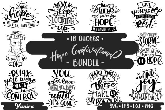 Print on Demand: 10 Hope Motivational | Lettering Quotes Graphic Crafts By Vunira