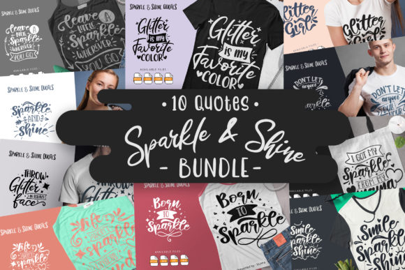 Print on Demand: 10 Sparkle & Shine | Lettering Quotes Graphic Crafts By Vunira