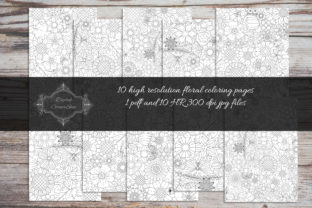 Print on Demand: 10 Floral Coloring Pages Vol 4 Graphic Coloring Pages & Books By digitalcornershop