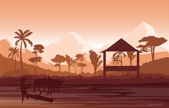 Asian Farmer Cultivating Rice Field Graphic Illustrations By jongcreative