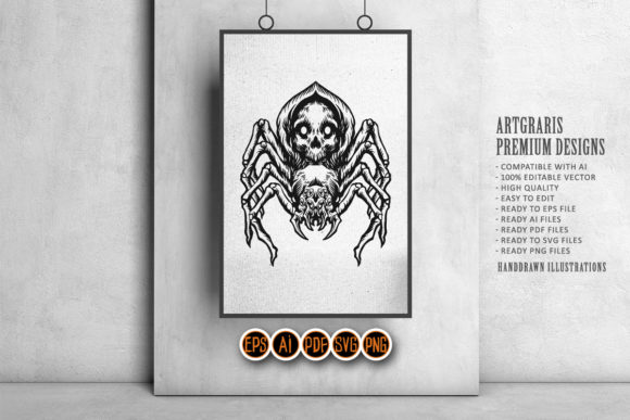 Print on Demand: Black Spider Skull Illustration Graphic Crafts By artgrarisstudio