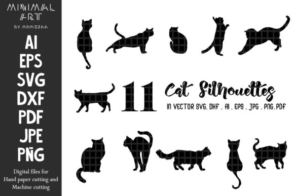 Print on Demand: Cats Silhouettes Lovely Sublimation SVG Graphic Illustrations By Momixzaa