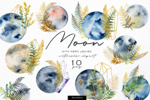 Fern Moon Clipart Graphic Illustrations By HappyWatercolorShop