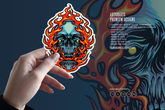 Print on Demand: Fire Skull Head Mascot Illustrations Graphic Illustrations By artgrarisstudio