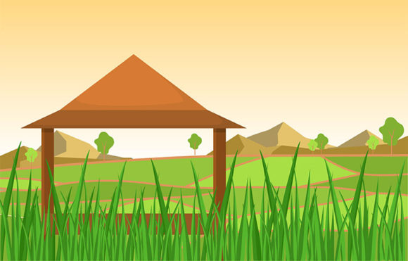Hut in Asian Rice Field Green Paddy Graphic Illustrations By jongcreative