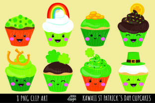 KAWAII ST PATRICKS DAY CUPCAKES Graphic Illustrations By TereVela Design