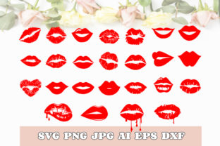 Lips Bundle Red Lips SVG DXF PNG JPG PDF Graphic Print Templates By TheCrafterDepot