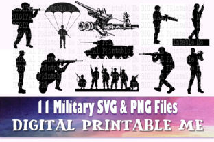 Print on Demand: Military SVG,  Army Silhouette Bundle Graphic Illustrations By DigitalPrintableMe