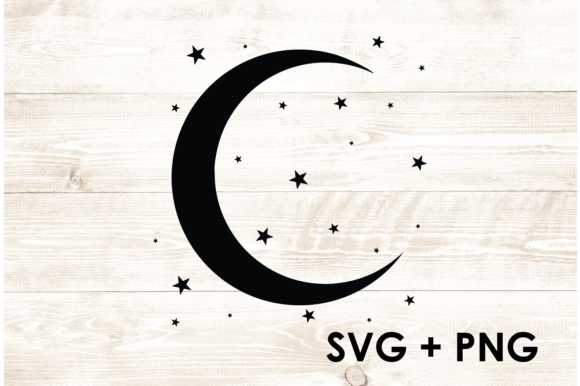 Print on Demand: Moon and Stars Galaxy Night Sky Graphic Print Templates By Too Sweet Inc