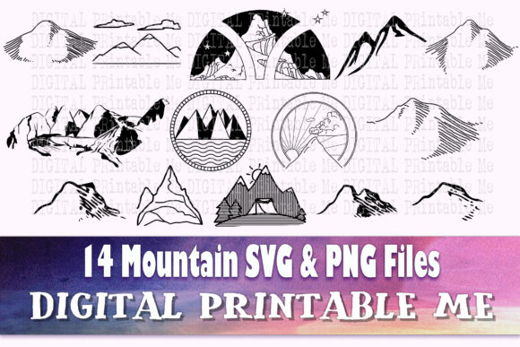 Print on Demand: Mountain Silhouette, Landscape SVG Graphic Crafts By DigitalPrintableMe