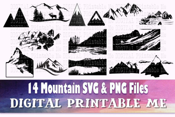 Print on Demand: Mountain Silhouette Landscape SVG Png Graphic Illustrations By DigitalPrintableMe