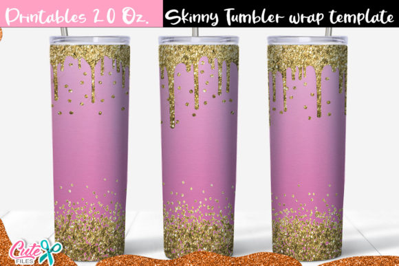 Pink and Gold Skinny Tumbler Wrap Graphic Print Templates By Cute files