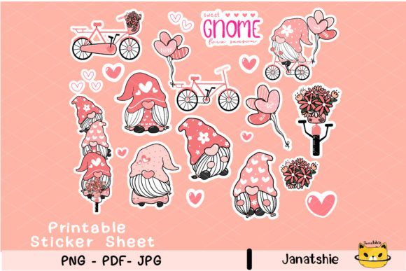 Printable Stickers, Valentine Gnome Graphic Crafts By Janatshie