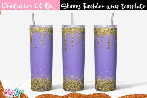Purp and Gold  Skinny Tumbler Graphic Print Templates By Cute files
