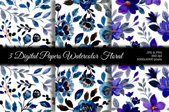 Print on Demand: Seamless Pattern Floral Watercolor 128 Graphic Patterns By asrulaqroni
