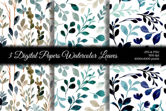 Print on Demand: Seamless Pattern Leaves Watercolor 19 Graphic Patterns By asrulaqroni
