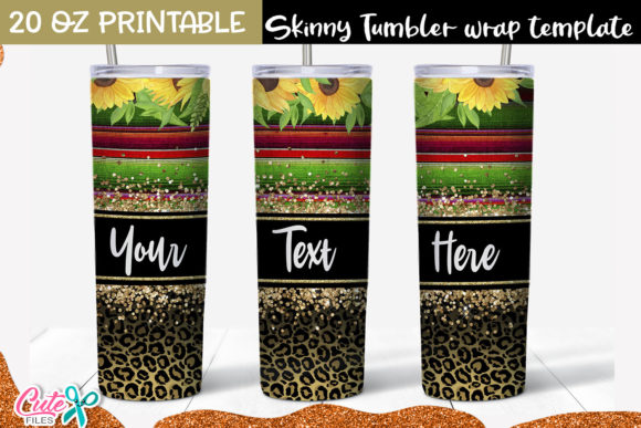 Serape and Leopard 20 Oz Skinny Tumbler Graphic Print Templates By Cute files