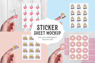 Print on Demand: Sticker Sheet Mockup Graphic Product Mockups By Pixtordesigns