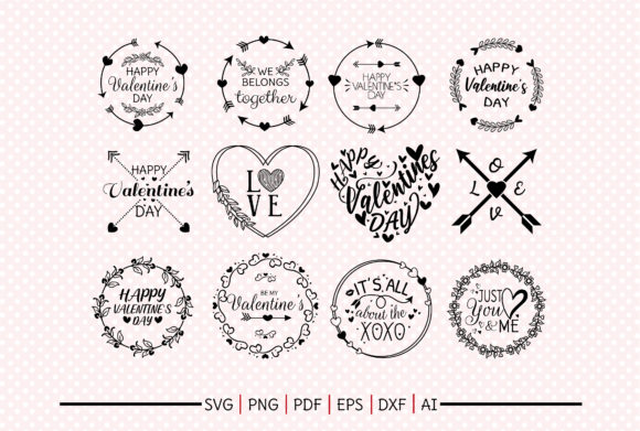 Print on Demand: Valentine Love Frame Cliparts Graphic Crafts By DIYCUTTINGFILES