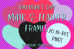 Print on Demand: Valentine Mink & Feather Frames 20 PNGs Graphic Illustrations