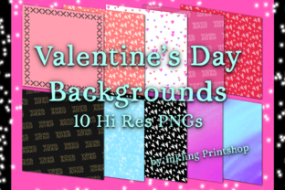 Print on Demand: Valentine's Backgrounds - 10 Hi Res PNGs Graphic Illustrations