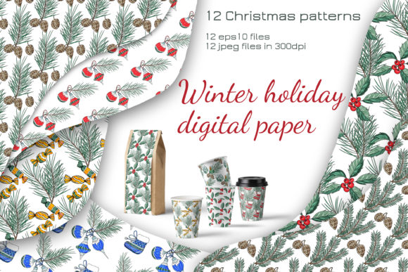 Print on Demand: Vector Christmas Digital Paper. Graphic Patterns By Alena Sas Store