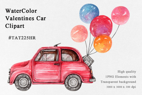 Watercolor Valentines Car PNG Clipart. Graphic Illustrations By Tat225hr