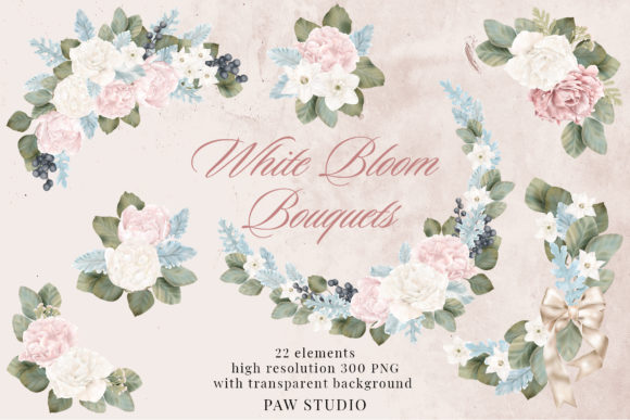 Print on Demand: Wedding Flowers Frames Bouquets Borders Graphic Illustrations By PawStudio