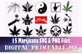 Print on Demand: Weed Svg, Cannabis Silhouette Bundle, 15 Graphic Crafts By DigitalPrintableMe