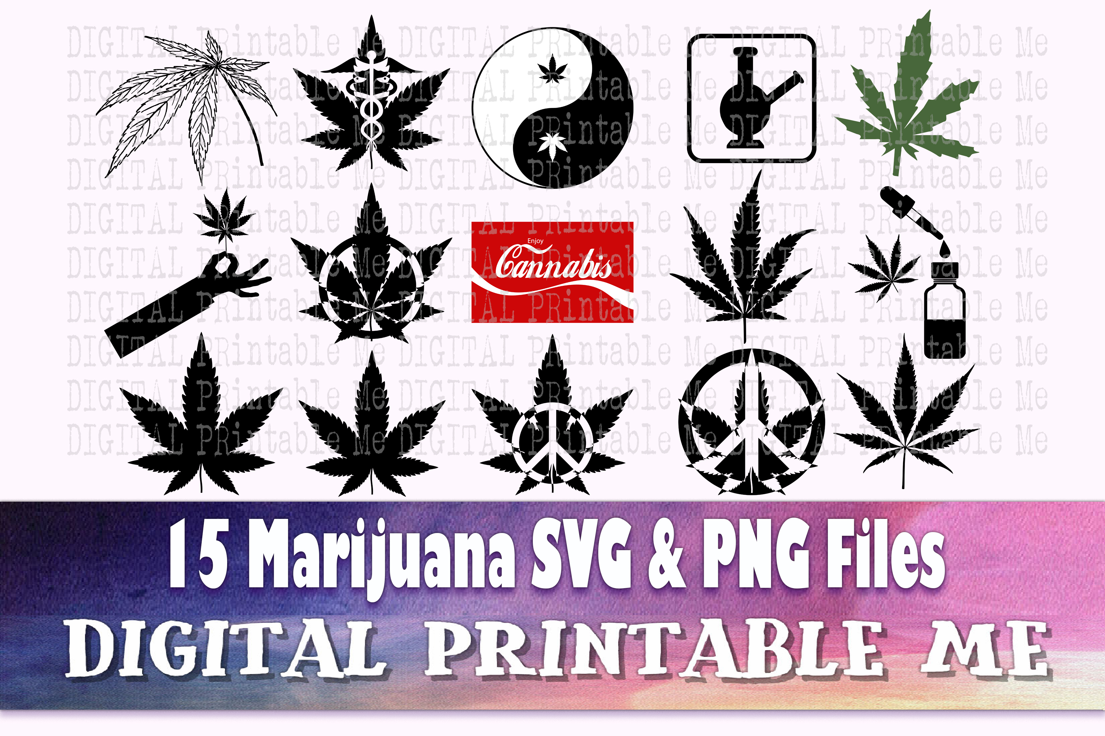 Weed Svg, Cannabis Silhouette Bundle, 15 SVG File