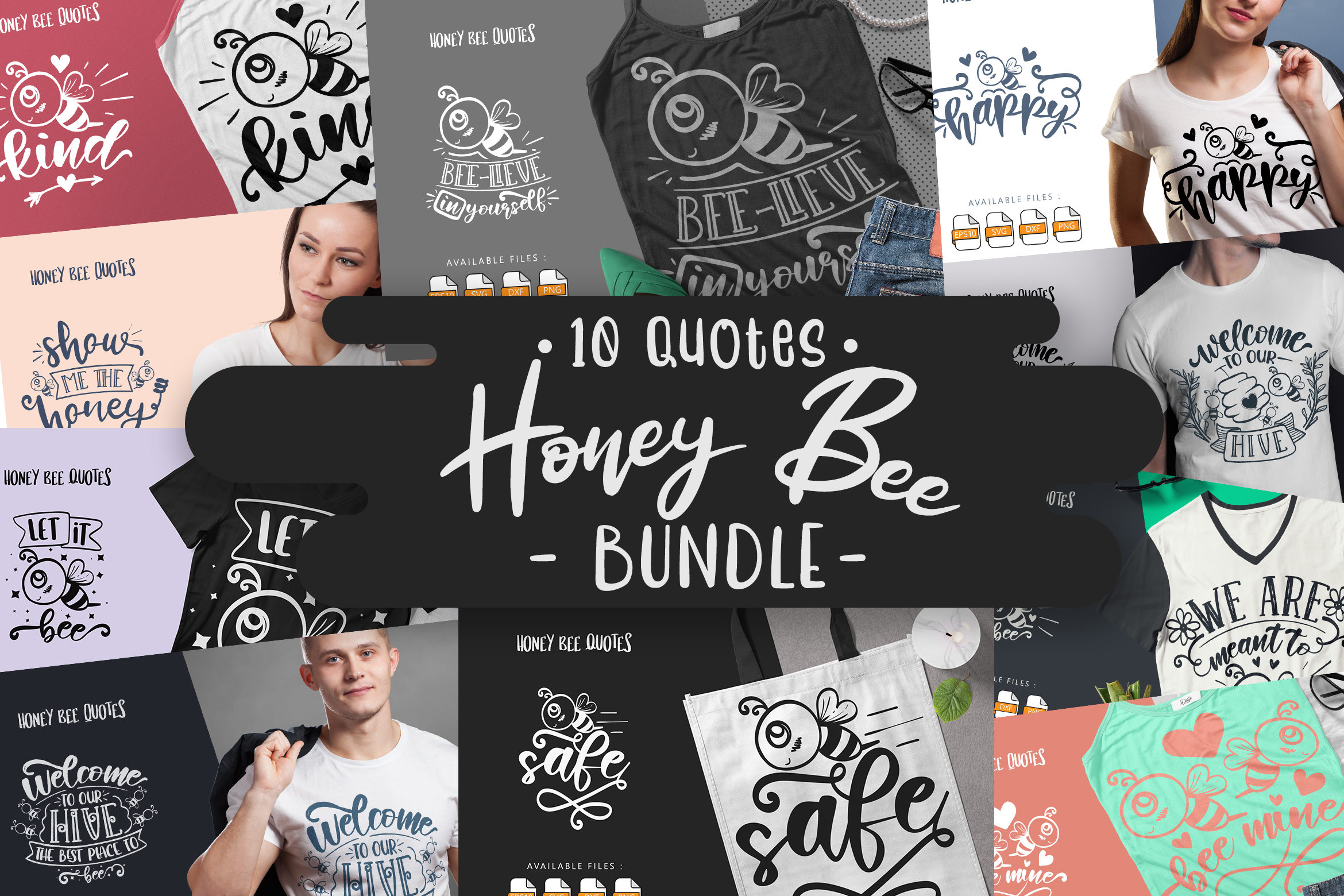 10 Honey Bee Bundle | Lettering Quotes SVG File