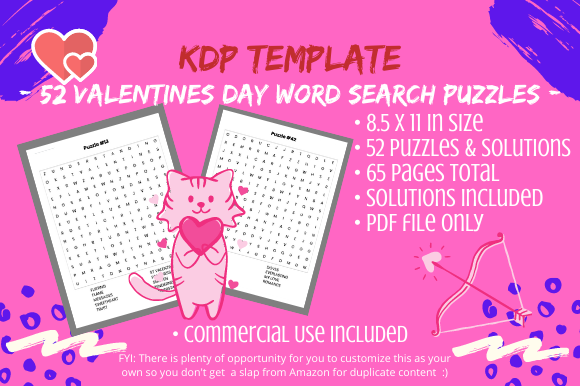 Print on Demand: 52 Valentines Day Word Search Puzzles Graphic KDP Interiors By Tomboy Designs