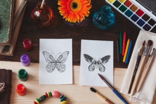 Print on Demand: Butterfly Mandala Coloring Pages Graphic Graphic Print Templates By TypeFactory