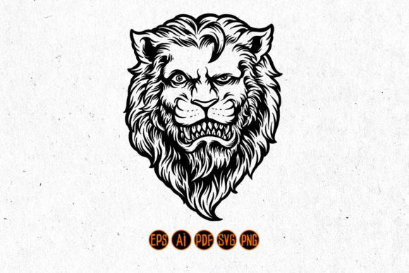 Print on Demand: Cool and Dashing Lion Head Silhouette Graphic Crafts By artgrarisstudio