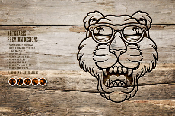 Print on Demand: Cool Tiger Head with Glasses Silhouette Graphic Crafts By artgrarisstudio