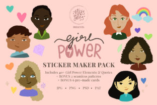 Print on Demand: Girl Power Sticker Maker Pack Graphic Illustrations By starsndskies