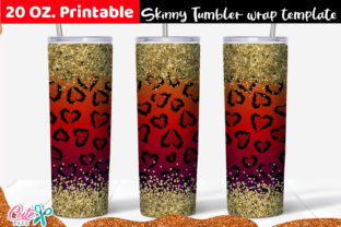 Leopard Hearts Skinny Tumbler Wrap Graphic Print Templates By Cute files